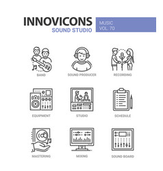 sound studio - line design icons set vector image