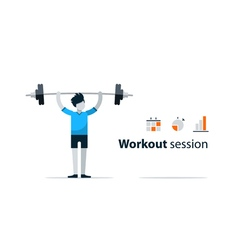 Sport gym workout session person with barbell vector