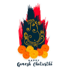 Stylish ganesh chaturthi festival greeting vector