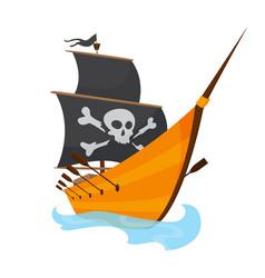 stylized cartoon pirate ship vector image