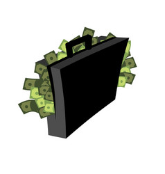 suitcase of money isolated case cash vector image