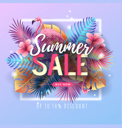 Summer big sale typography poster with flamingo vector