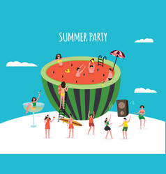 summer party banner with watermelon and people vector image