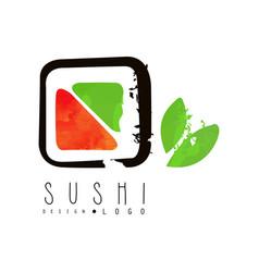 Sushi logo design japanese food label badge for vector