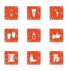 Tavern icons set grunge style vector