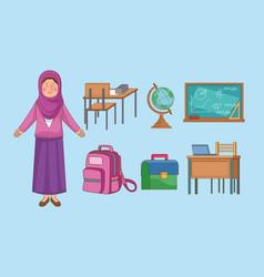 Teacher and supplies vector