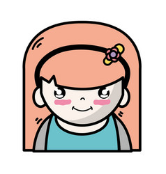 tender girl with hairstyle to kawaii avatar vector image