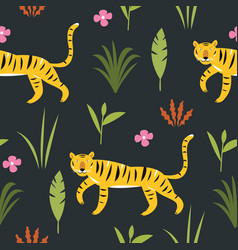 tiger among palm leaves seamless pattern vector image
