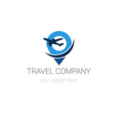 travel company logo template isolated on white vector image
