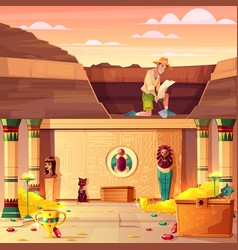 Treasure hunter searching pharaoh treasury vector
