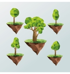 Tree and earth icon Polygonal image vector