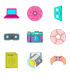 Tv series icons set cartoon style vector