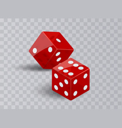 Two dice casino gambling red poker cubes vector