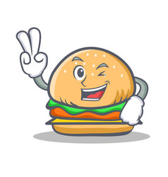 two finger burger character fast food vector image