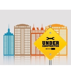 Under construction building technology city vector