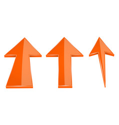 Up arrows orange straight moving up 3d icons vector