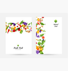 Vegetables banners and elements for menu design vector
