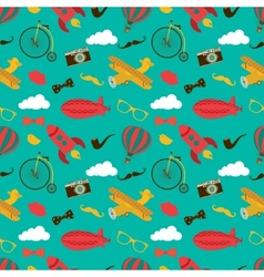 Vintage Air Vehicles Seamless Pattern vector image