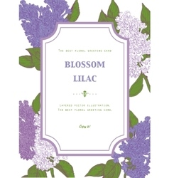 Vintage Floral Greeting Card with Blooming Lilac vector image