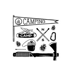 vintage hand drawn camping adventure shapes vector image