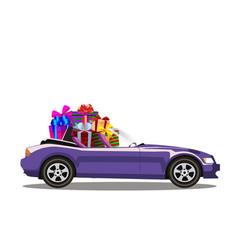 Violet modern cartoon cabriolet car full of gift vector