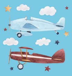 Watercolor aircraft vector
