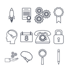 White background with silhouette set icons vector