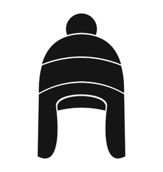 Winter hat icon in simple style vector