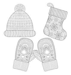 Winter knitted Sock for gift from Santa cap glove vector image