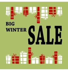 Winter sale background with black letters and vector image