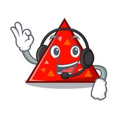 With headphone triangel mascot cartoon style vector