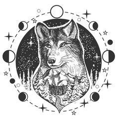 Wolf head tattoo or t-shirt print design vector