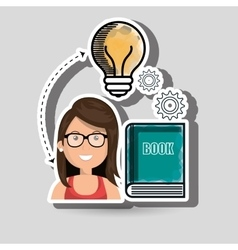 woman book idea icon vector image