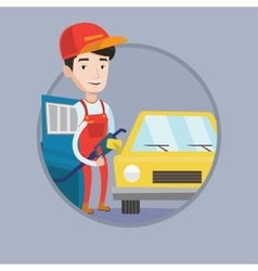 Worker of gas station filling up fuel into car vector