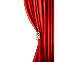 Background with red velvet curtain and hand vector image