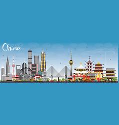 china city skyline famous landmarks in china vector image