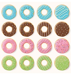 Collection of sixteen glazed colorful donuts vector image vector image