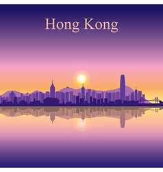 Hong Kong silhouette on sunset background vector image vector image