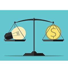 Light bulb money balance vector image vector image