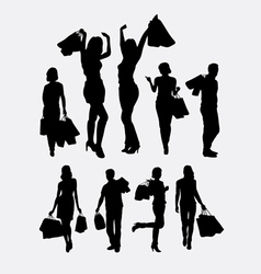 People male and female shopping silhouettes vector image vector image