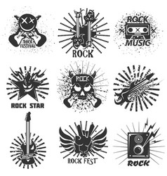 rock band festival icons skull and guitar vector image vector image
