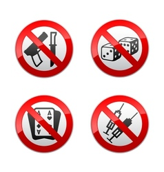 set prohibited signs - gaming vector image vector image