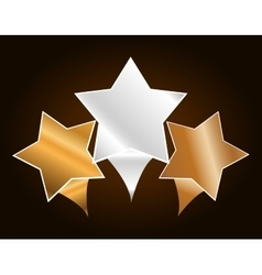 Three metallic stars icon image vector