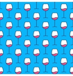 Wine glasses blue pattern vector image vector image