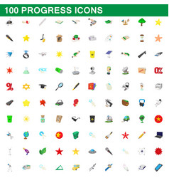 100 progress icons set cartoon style vector image vector image