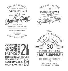 Adult birthday invitation vintage design elements vector image vector image