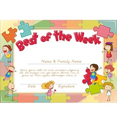 Certificate with children and jigsaw pieces vector