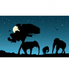 family of elephants vector image vector image