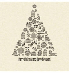 holiday Greeting Card with fir tree vector image