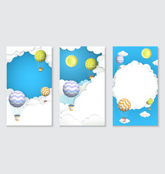 hot air balloon paper cut vertical banner vector image